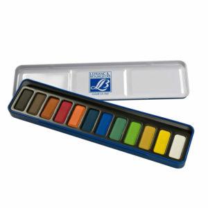 Scatola in metallo 12 colori acquerelli Lefranc & Bourgeois