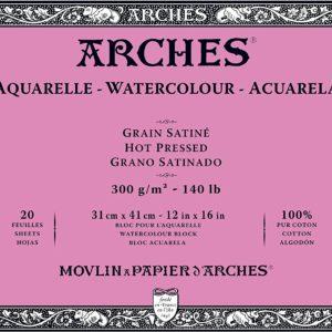 Arches Aquarelle – Blocco incollato su 4 lati – 20 fogli 31×41 grana satinato