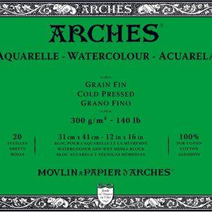 Arches Aquarelle – Blocco incollato su 4 lati – 20 fogli 31×41 gr 300 grana fine