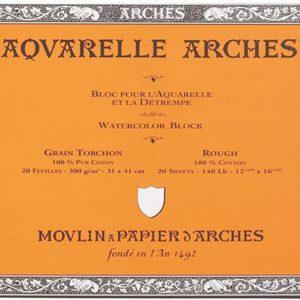 Arches Aquarelle – Blocco incollato su 4 lati – 20 fogli 31×41 grana torchon