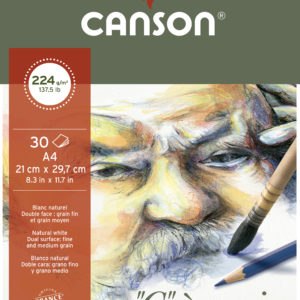 Canson 'C a grain' Blocco Carta Da Disegno 30 fogli 224 g grana fine bianco naturale