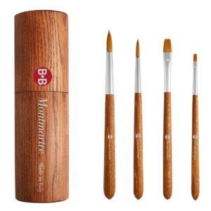 Portapennelli in legno, 4 pennelli, sintetico oro fine, ghiera in ottone, manico corto. EDIZIONE LIMITATA