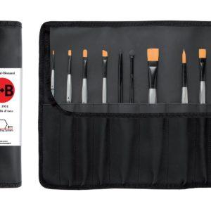 Portapennelli nero completo di 12 pennelli esagonali sintetici