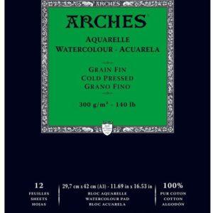 Arches Album A3 per acquerello -100% cotone grana fine – 12 fogli